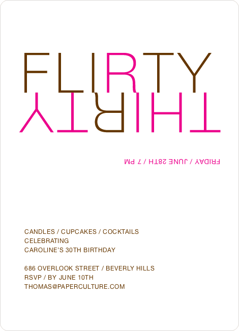 Flirty Thirty – 30th Birthday Invitation - Magenta
