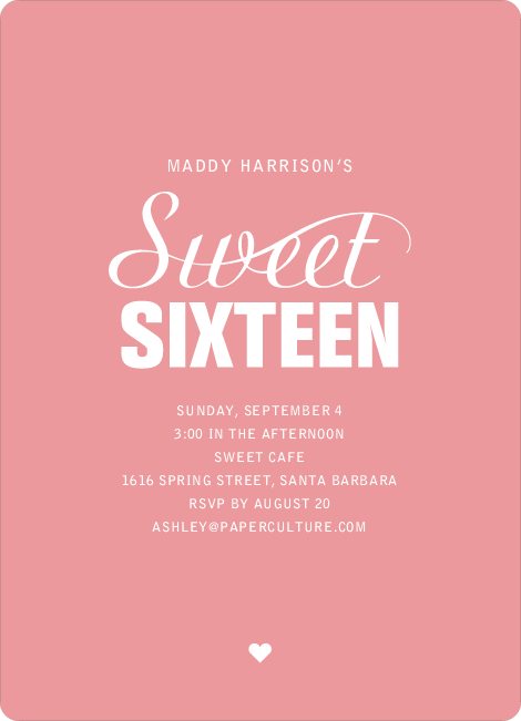 Script Sixteen Invitations - Pink Peach