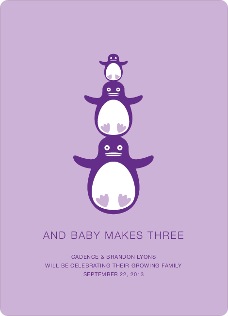 Penguin Pregnancy Announcements - Lavender Petal
