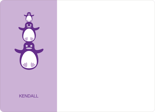 Personal Stationery for Stacked Penguin Photo Baby Announcement - Lavender