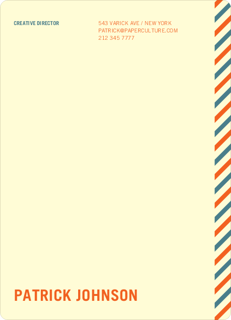 Diagonal Stripes Personal or Professional Stationery - Tangerine