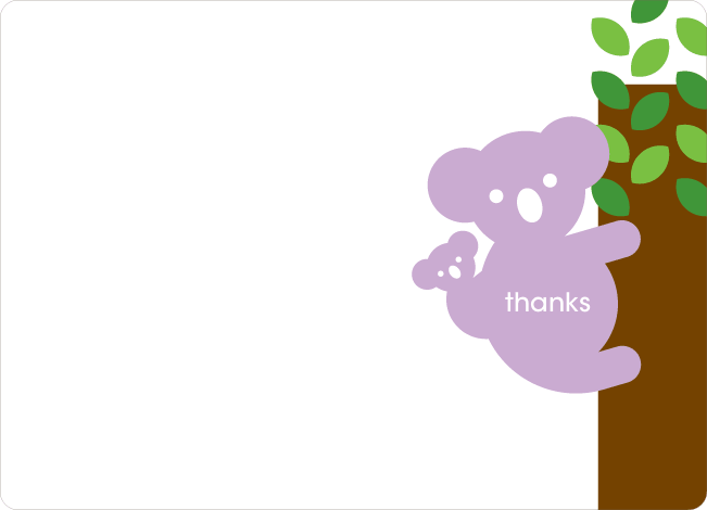 Thank You Card for Cuddly Koala Baby Shower Invitation - Lavender