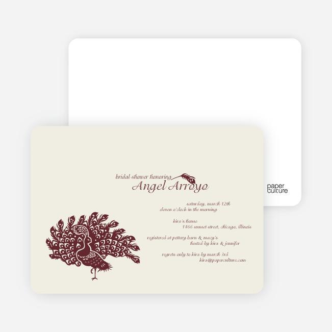 Peacock Bridal Shower Invitations - Burgundy