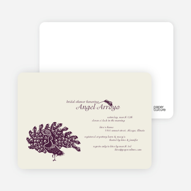 Peacock Bridal Shower Invitations - Plum
