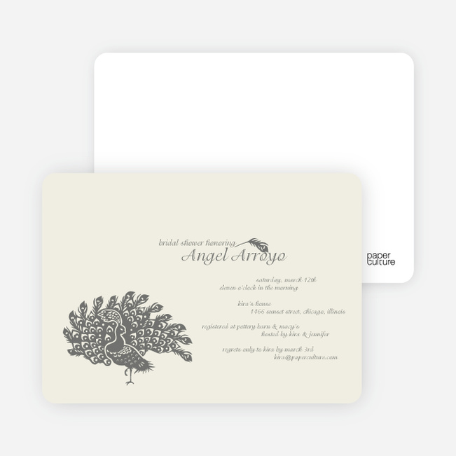 Peacock Bridal Shower Invitations - Charcoal