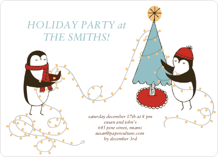 Penguin Lights Holiday Invitations - Mystic Blue