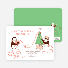 Penguin Lights Holiday Invitations - Pistachio