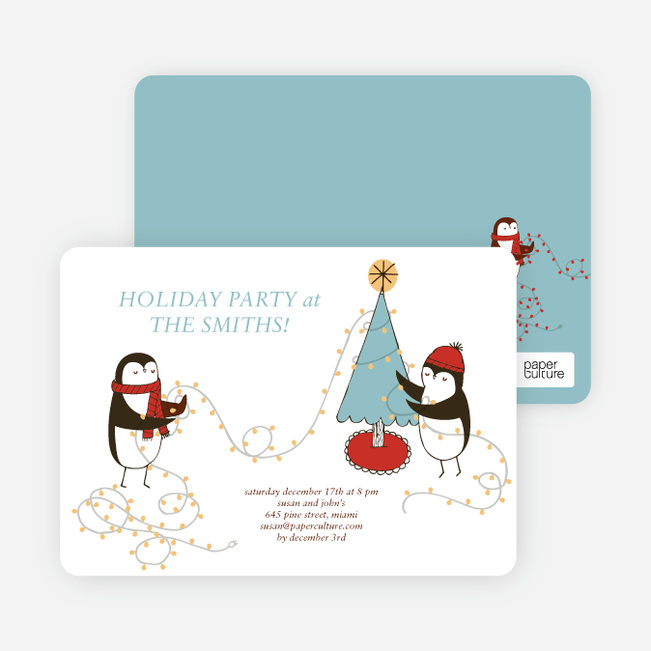 Penguin Lights Holiday Invitations - Mystic Blue