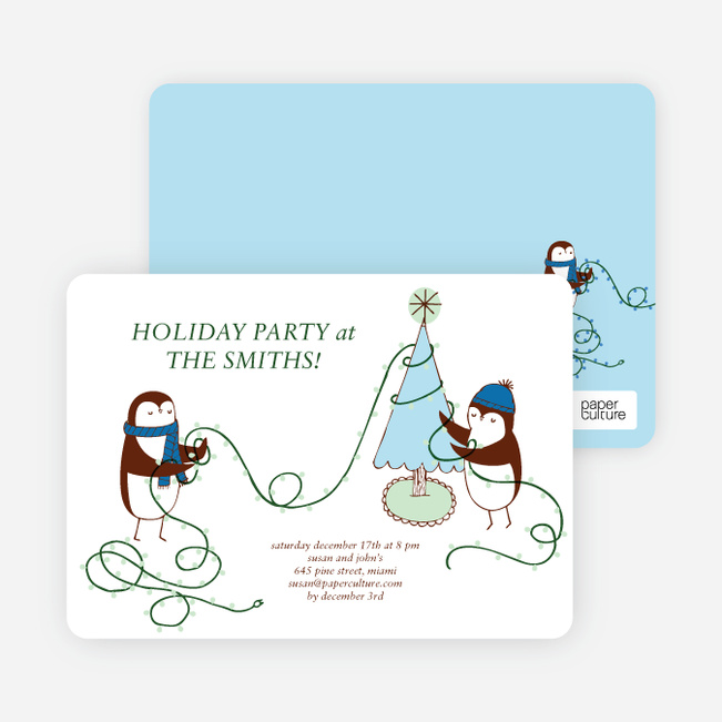 Penguin Lights Holiday Invitations - Aquamarine