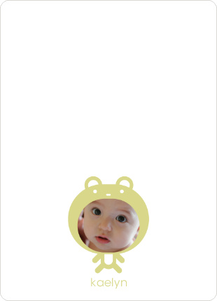 Personal Stationery for Baby in Cuddly Bear Outfit Baby Announcement - Pistachio