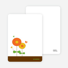 Personal Stationery for Butterflies and Flowers Modern Birthday Invitation - Carrot Orange