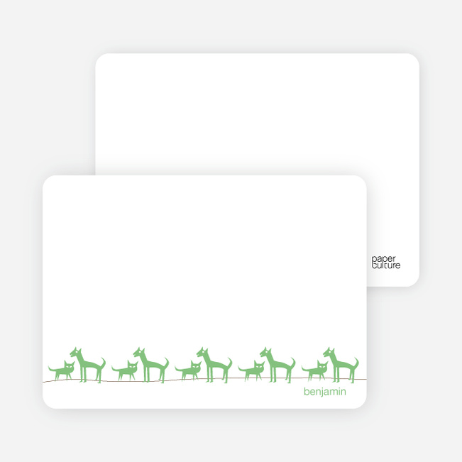 Personal Stationery for Cats and Dogs Photo Baby Announcement - Asparagus