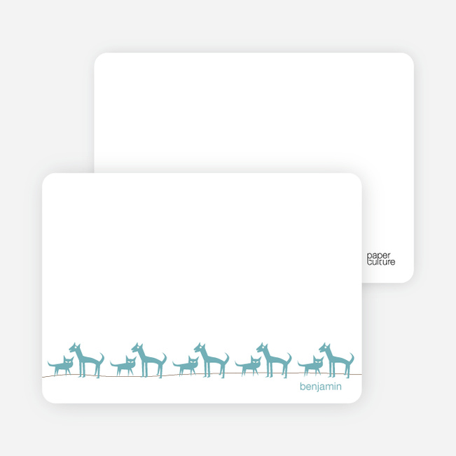 Personal Stationery for Cats and Dogs Photo Baby Announcement - Cadet Blue