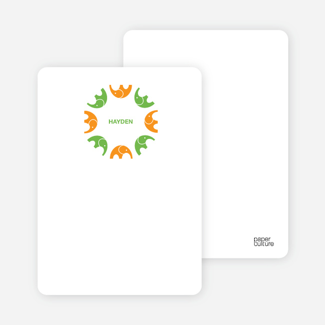 Personal Stationery for Elephant Kaleidoscope Modern Birthday Invitation - Carrot