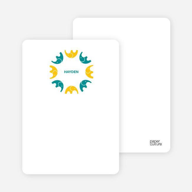 Personal Stationery for Elephant Kaleidoscope Modern Birthday Invitation - Sunflower