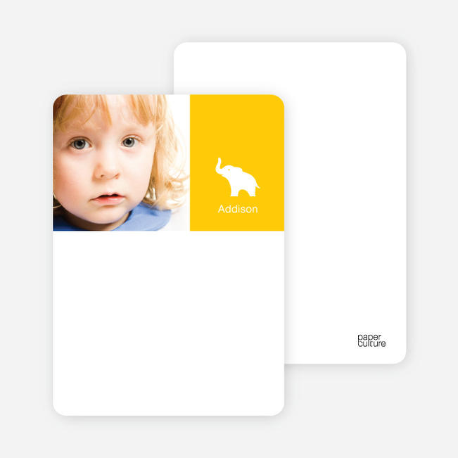 Personal Stationery for Ernie the Elephant's Modern 2nd Birthday Invitations - Lemon Yellow