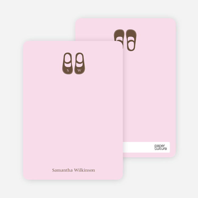 Personal Stationery for Girls' Shoes Modern Baby Announcement - Pink Blush
