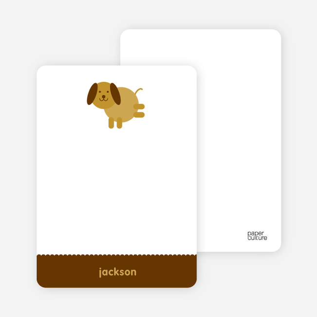 Personal Stationery for Kids Modern Birthday Invitations Featuring Skip the Dog - Mustard