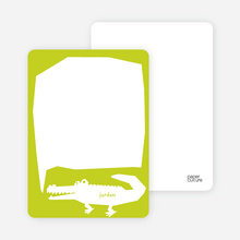 See You at the Party Alligator: Personal Stationery - Chartreuse