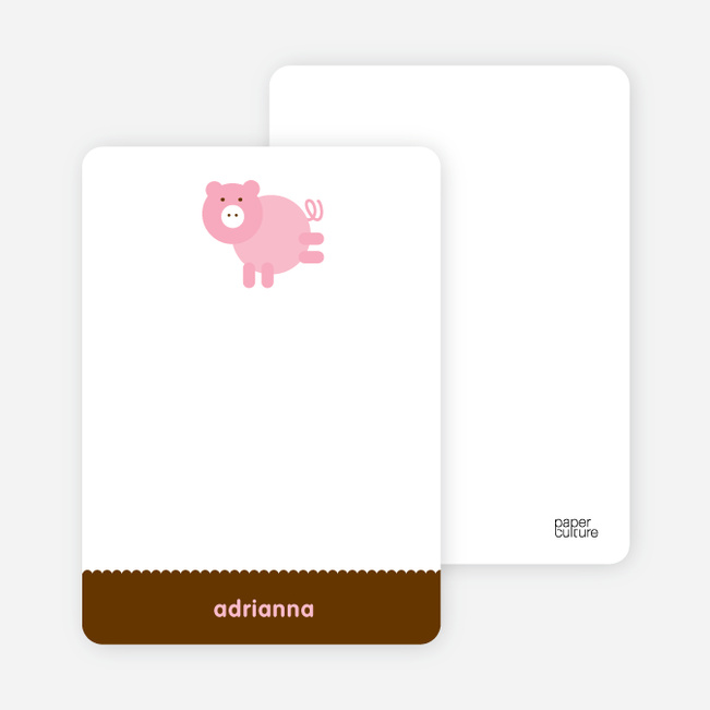 Personal Stationery for Little Piggy Modern Birthday Party Invitation - Cotton Candy Pink