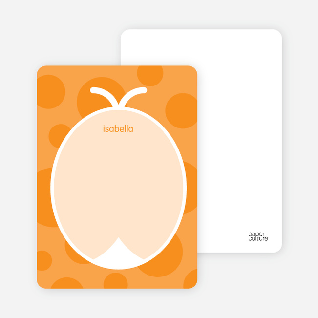 Personal Stationery for Orange Ladybug Modern Birthday Invitation - Tangerine