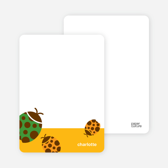 Personal Stationery for Orange Ladybug Modern Birthday Invitation - Papaya