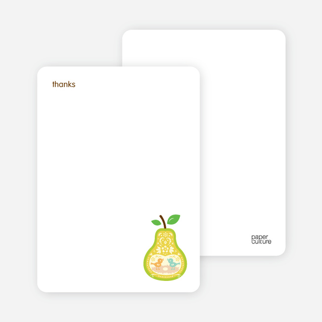 Personal Stationery for Pear Birds Modern Birthday Invitation - Sun Yellow