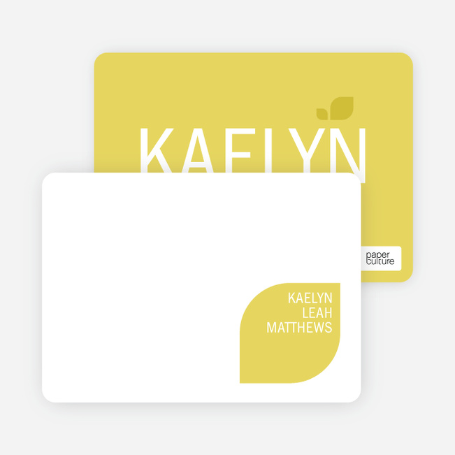 Personal Stationery for Simply Photos: Leaf Modern Baby Announcement - Lemon Chiffon