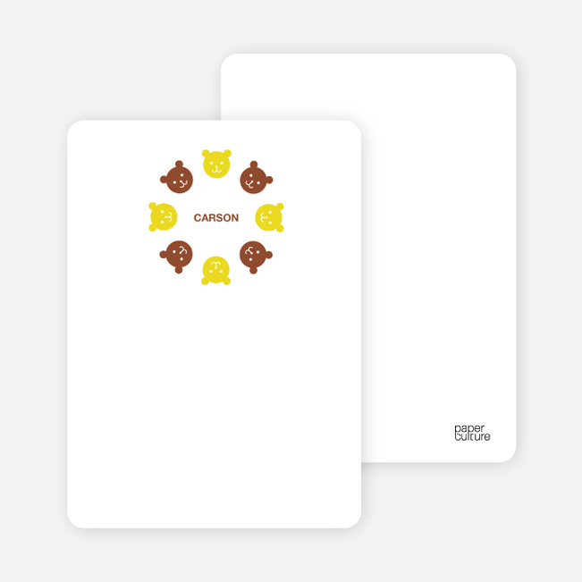 Personal Stationery for Teddy Bear Kaleidoscope Birthday Invite - Daffodil