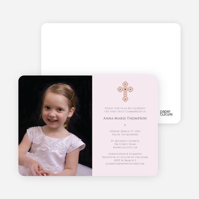 Photo Card First Holy Communion Invitations - Pale Pink