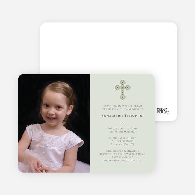 Photo Card First Holy Communion Invitations - Light Sage