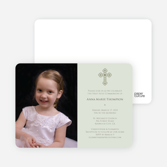 Photo Card First Holy Communion Invitations - Light Sage