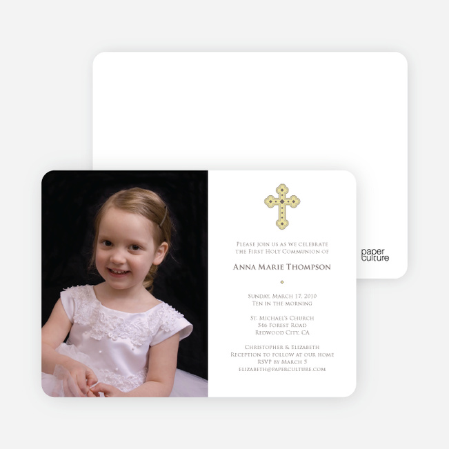 Photo Card First Holy Communion Invitations - White