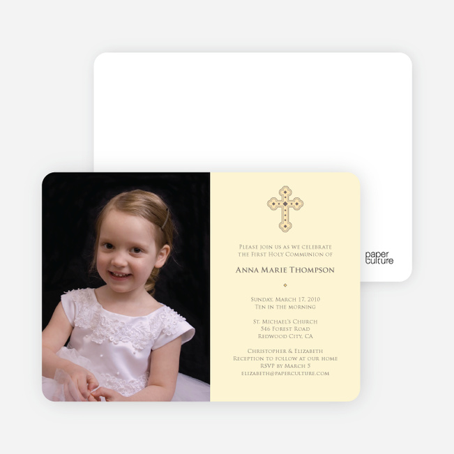 Photo Card First Holy Communion Invitations - Creamy Yellow