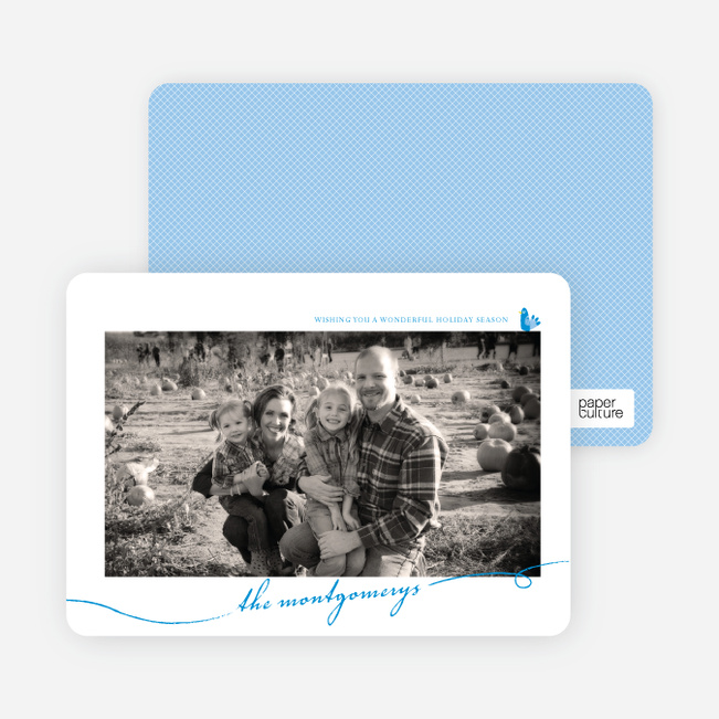 Photo Frame Holiday Photo Cards - Royal Blue