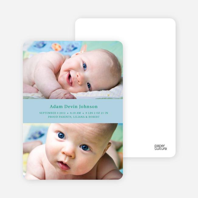 Photo Sandwich Birth Announcements - Blue Blanky