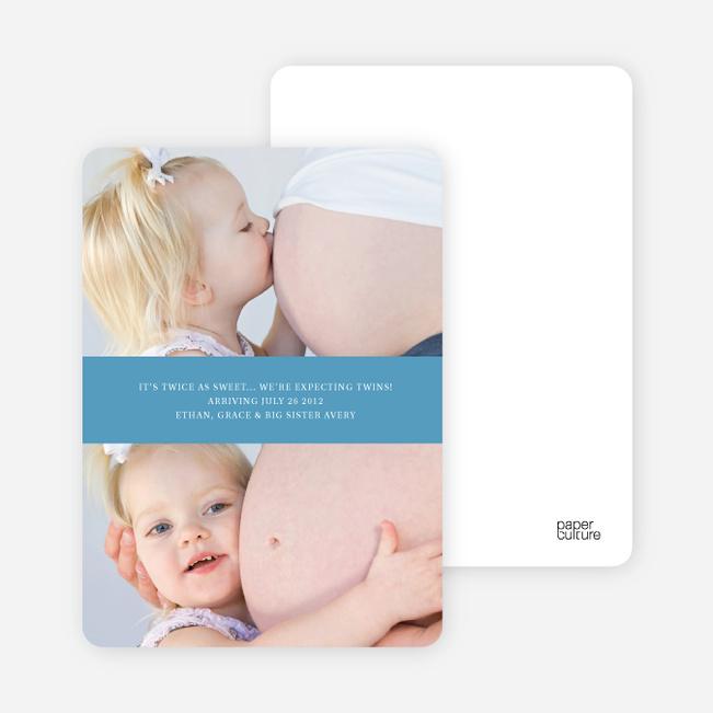 Photo Sandwich Pregnancy Cards - Mint Blueberry