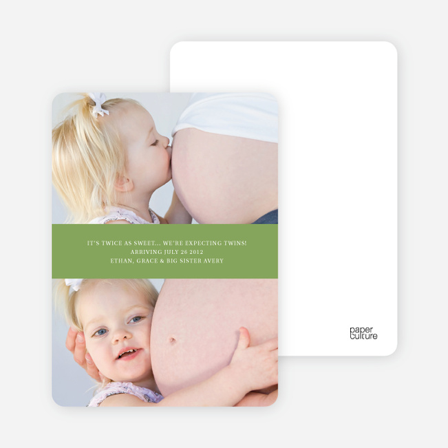 Photo Sandwich Pregnancy Cards - Green Tea
