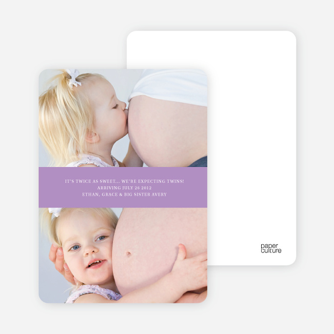 Photo Sandwich Pregnancy Cards - Lavender Love
