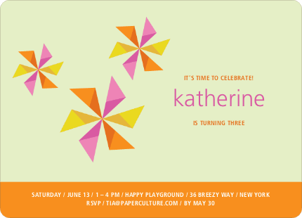 Pinwheel Modern Birthday Party Invitation - Yellow Mist