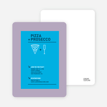 Pizza & Prosecco Party Invitation - Royal Blue