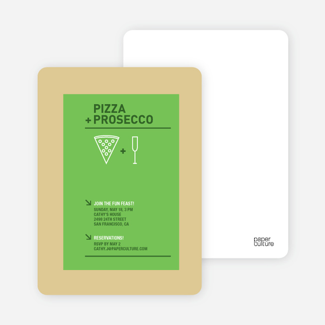 Pizza and Prosecco Party Invitations - Apple Green