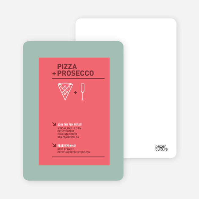 pizza and prosecco party invitations paper culture