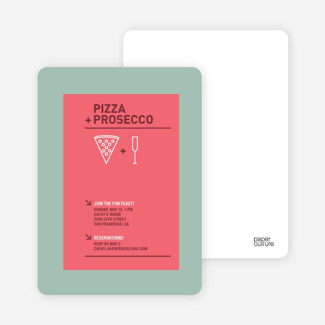 Pizza and Prosecco Party Invitations - Coral