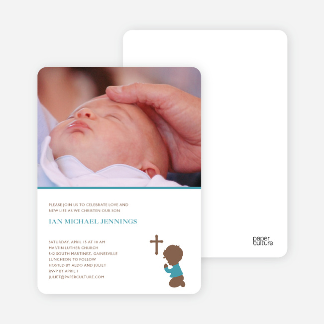 Prayers Answered Photo Baptism Card - Greenish Blue