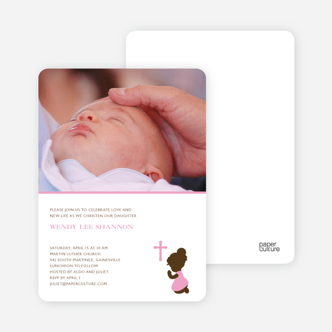 Prayers Answered Photo Baptism Card - Pink