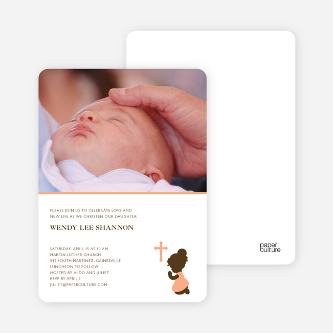 Prayers Answered Photo Baptism Card - Pale Orange