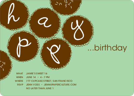Premium Cupcakes Galore Birthday Invitations - Mint Green