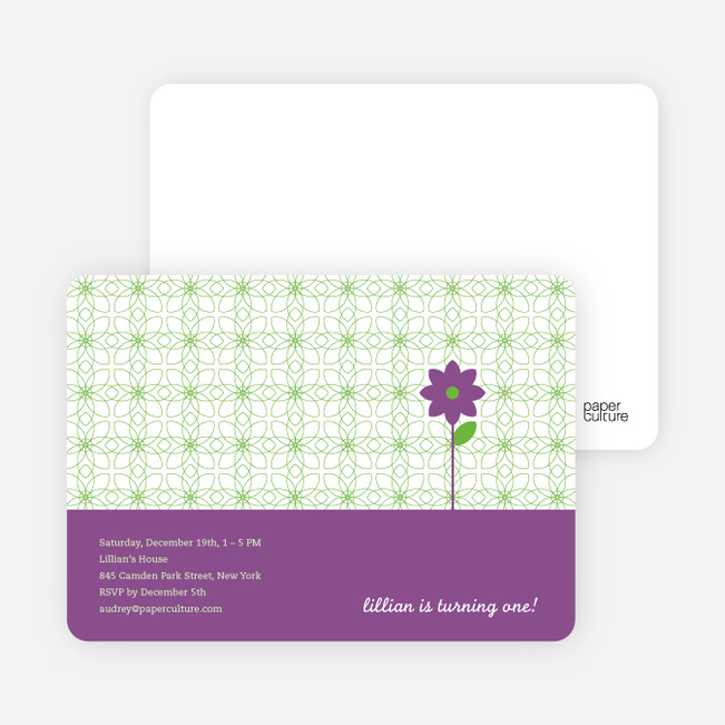 Purple Flower Modern Birthday Invitation - Grape Gum