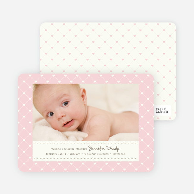 Quilted Love Birth Announcements - Pale Pink